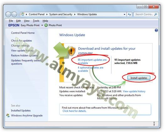 Gambar: Mengatur update yang akan di install di windows