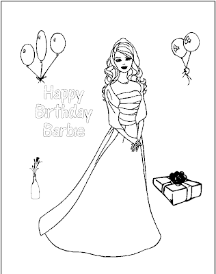 Happy Birthday Barbie Coloring Pages