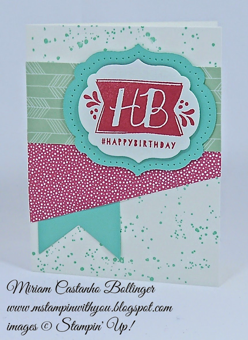 Miriam Castanho Bollinger, #mstampinwithyou, stampin up, demonstrator, pp240, sssc264, birthday card, chalckboard banner kit, gorgeous grunge stamp set, balloon bash stamp set, big shot, labels collection, banner framelit, su
