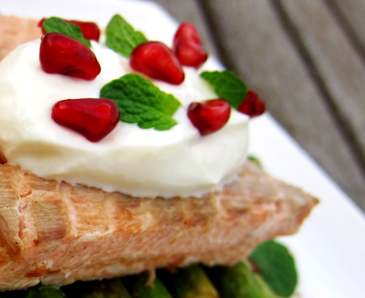 pan-grilled lime and pepper infused salmon and asparagus, topped with ...