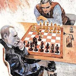 Garry Kasparov face à Poutine qui joue bien sûr la Défense Russe 1.e4 e5 2.Cf3 Cf6