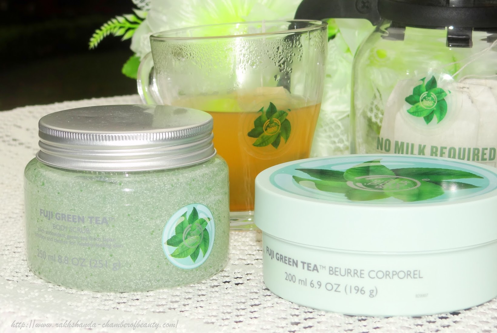 The Body Shop Fuji Green Tea collection- First look | Fuji Green tea body butter & body scrub, #TeaWithTheBodyShop, Fuji Green Tea Body butter, body scrub, bodycare products, Indian beauty blogger, Chamber of Beauty
