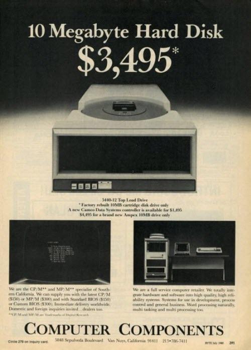 En 1980 un disco rígido de 10 MB costaba casi 3500 dólares