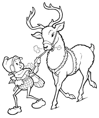 Christmas Line Art Elf with Reindeer