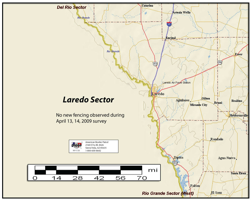the texas mexico border runs almost 2 000 miles 171 miles of which are in the laredo sector the laredo sector runs from the dimmitt webb county line to