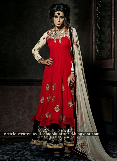Red-n-Black Embroidered Palazzo Suit Fashion