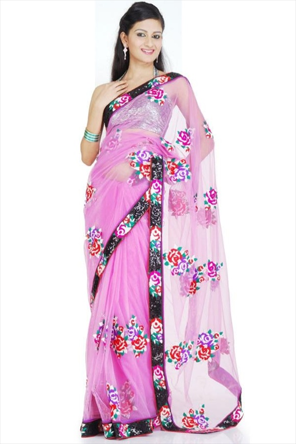Cherry Pink Net Saree