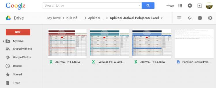 Aplikasi Jadwal Pelajaran Sekolah SD SMP SMA dengan Microsoft Excel di Google Drive