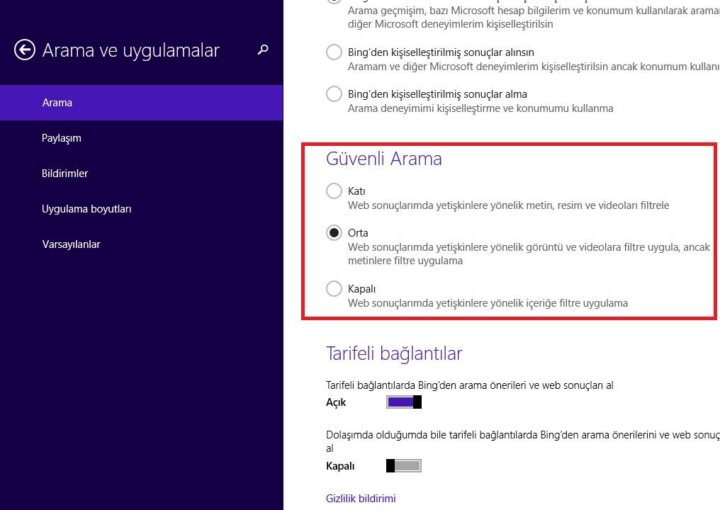 Windows 8.1 Web Araması Güvenli Arama Ayarlarını Değiştirme