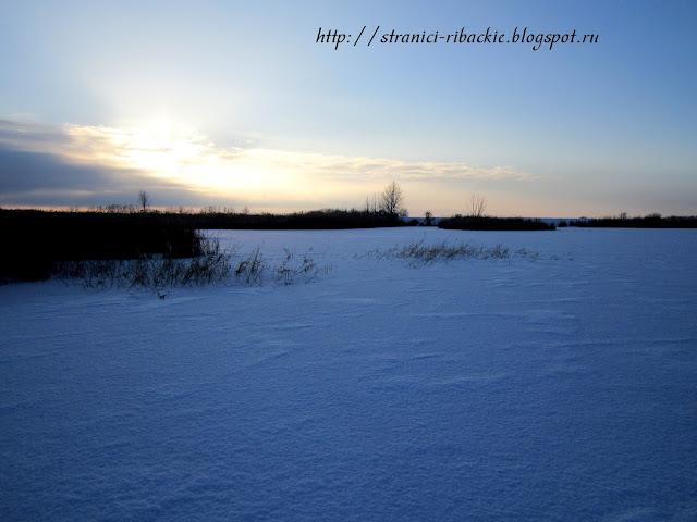 рыбалка на реке Белой, рассвет на Белой зимой