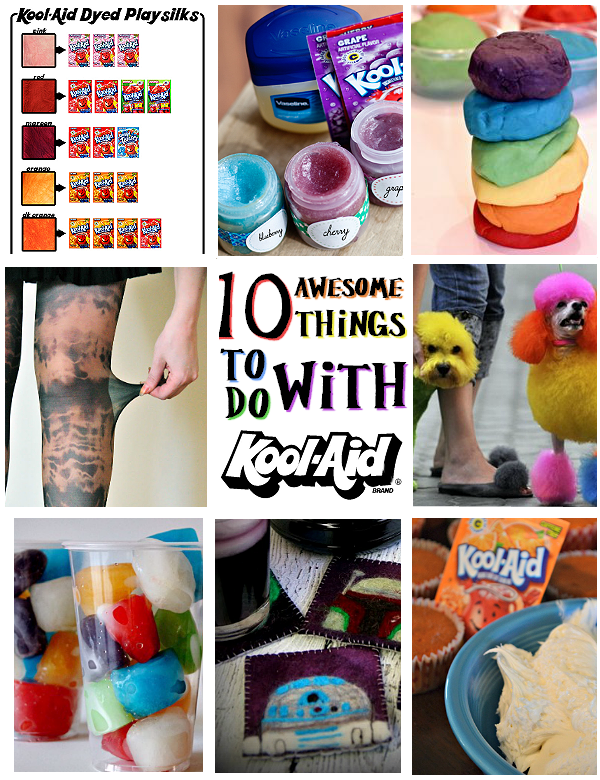 10 Awesome Things To Do With Kool-Aid: Fabric color chart, homemade lip gloss, fruity kid-safe play dough, tie-dyed nylons, colorful pet dye, cupcake frosting, fruity ice cubes, and more.