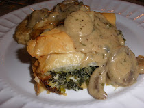 Greek Spanakopita with Chicken in White Wine Cream Sauce