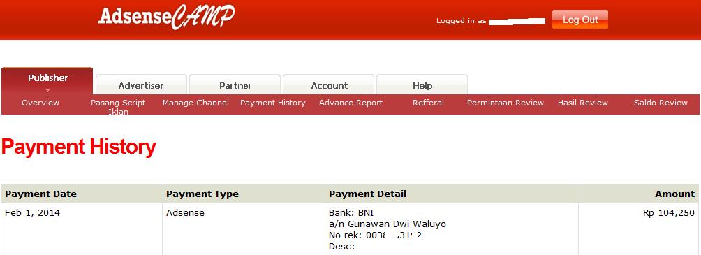 pembayaran adsensecamp