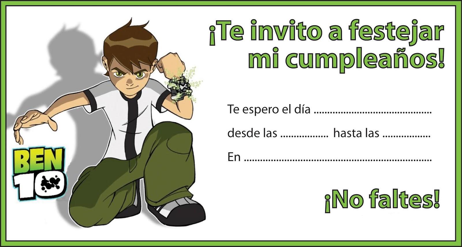 Tarjetas de invitación de ben 10 para imprimir gratis - Imagui