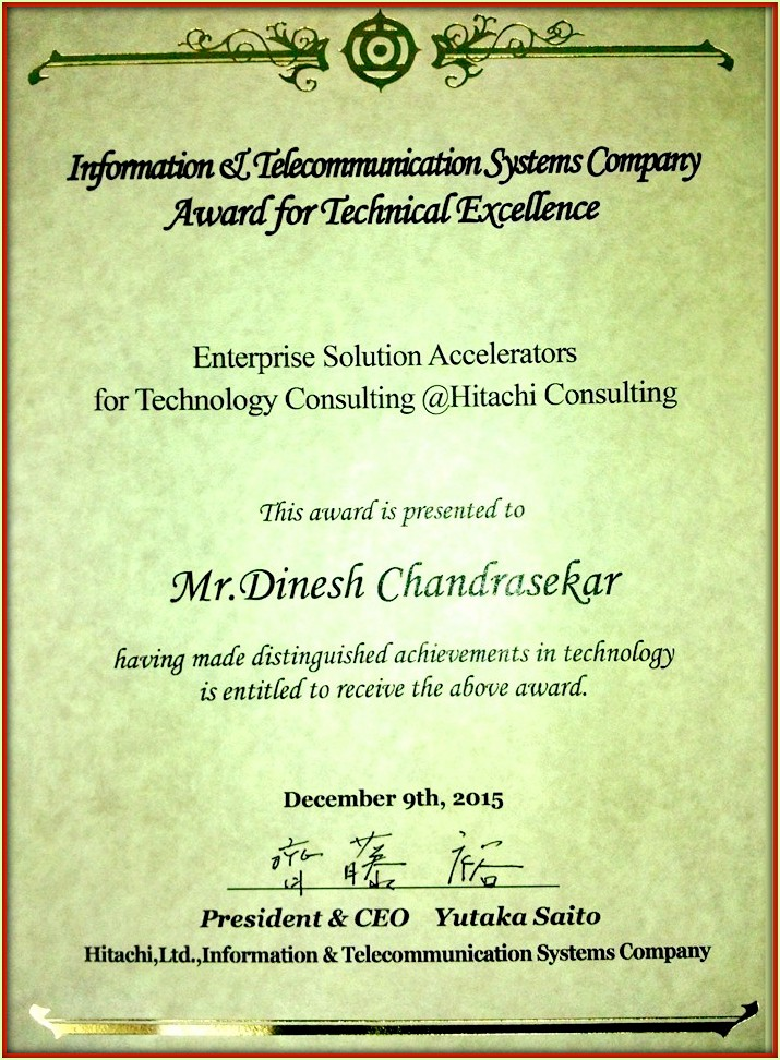 Hitachi ITSC President's Award for Technical and Innovation Excellence 2015