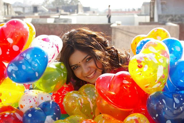 samantha with colorful balloons hot images