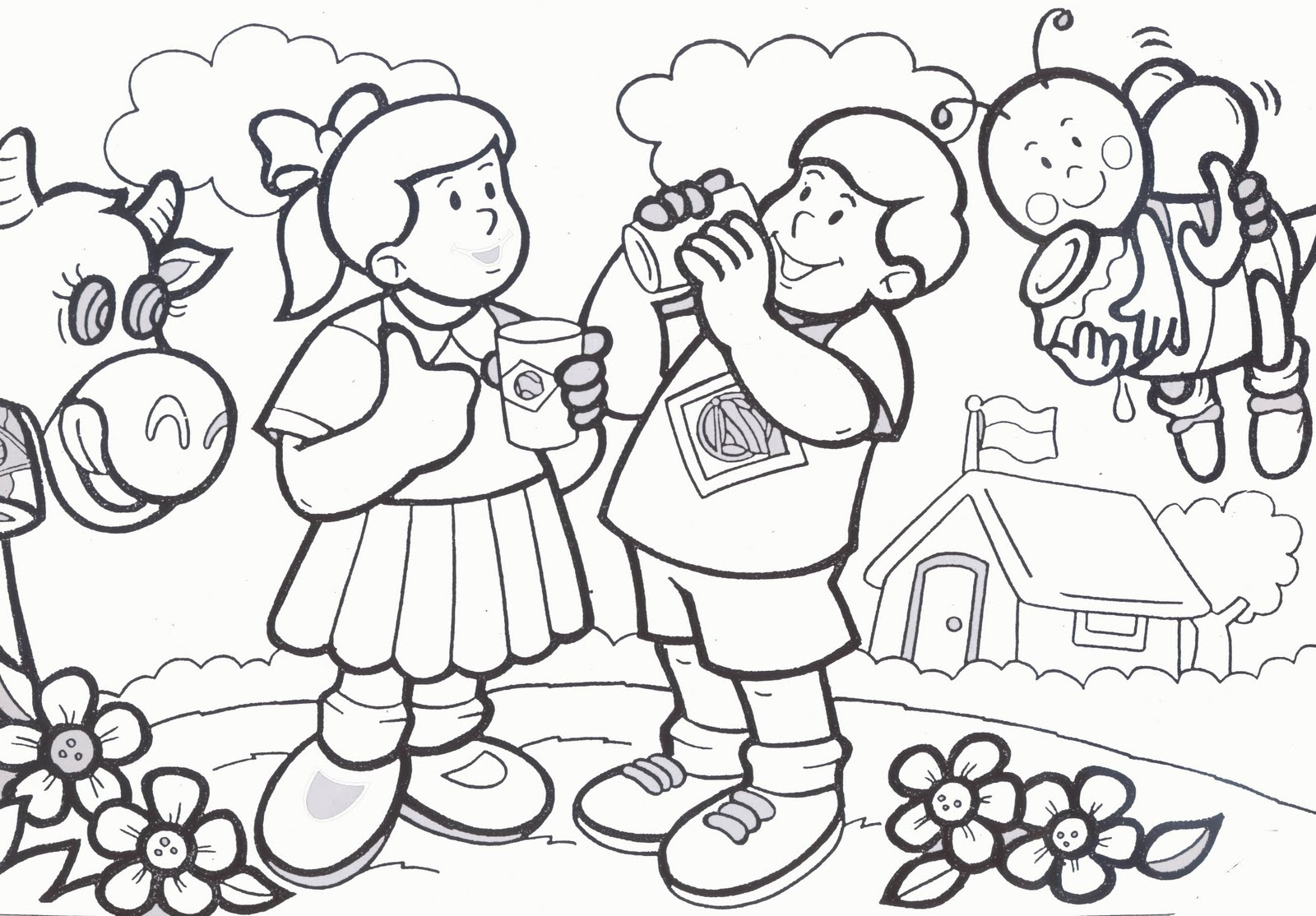 Milk Coloring Pages for Kids