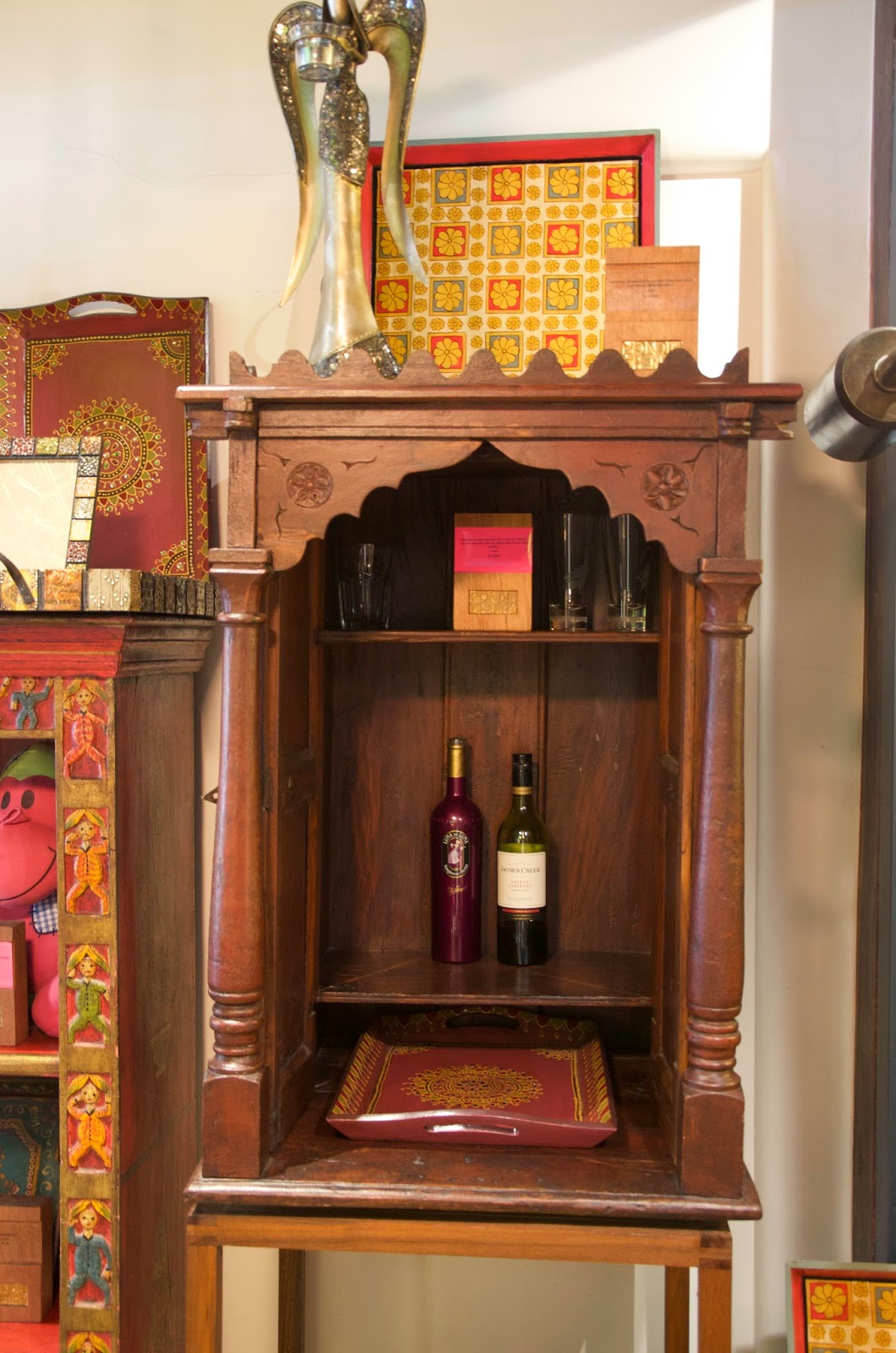 I love this old shrine that has shelves added so it can be used as a  mini-drinks or medicine cabinet. - BombayJules: Pondicherry (Mumbai) - New Antiques & Interiors Find!