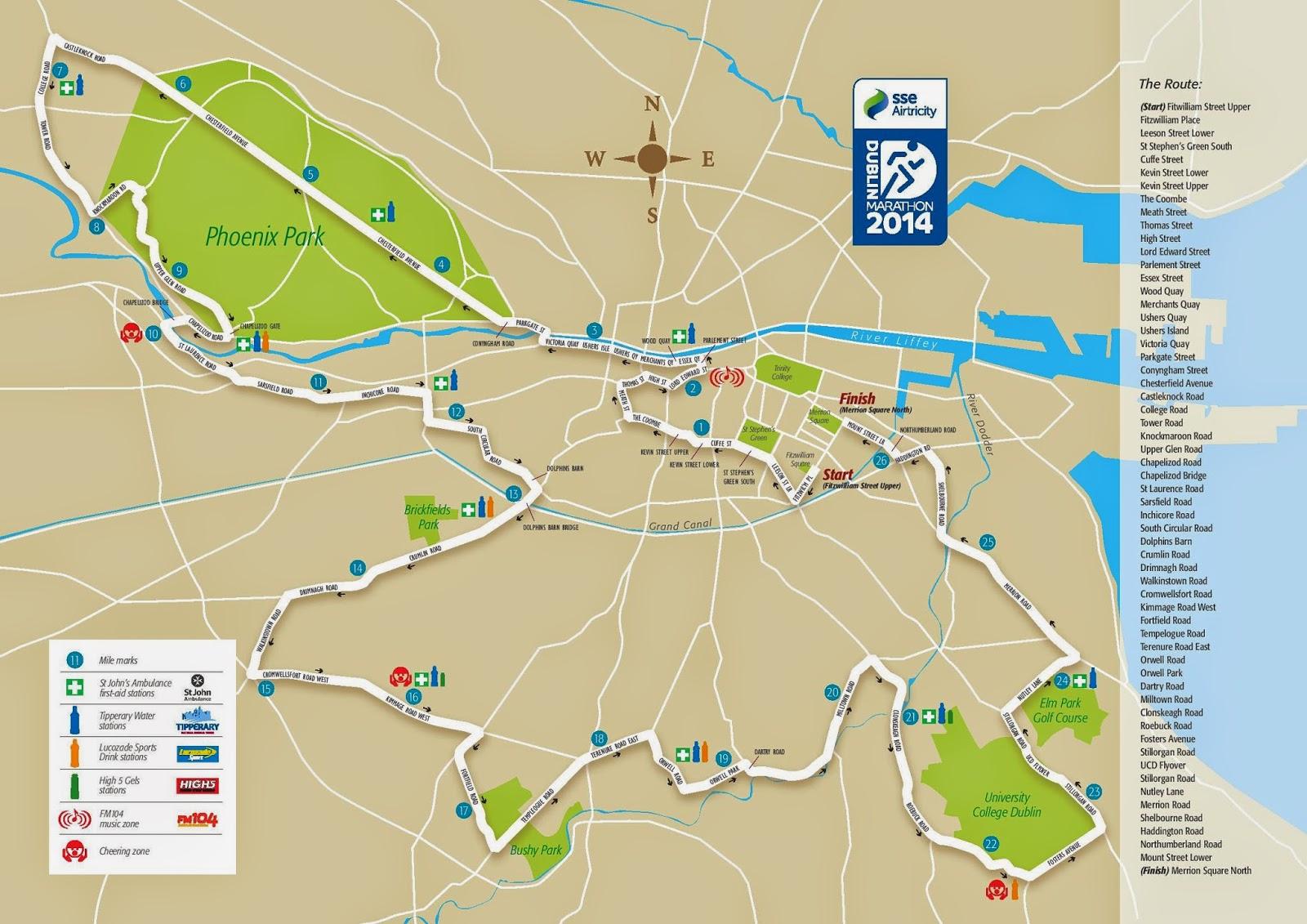 Dublin Marathon Map