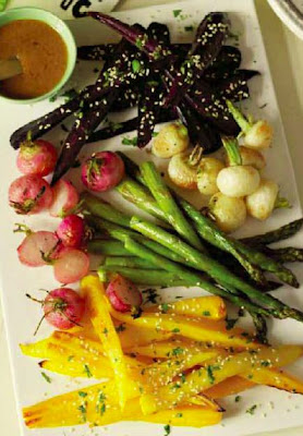 Roasted Spring Vegetables with Miso and Ginger Dressing