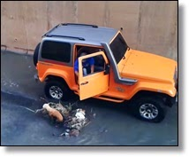 Picture man in jeep saving dog