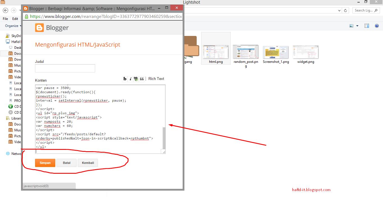 Tambah HTML / Script