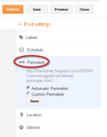 Cara Mengganti URL atau Alamat Postingan Blog di Blogspot dengan Menggunakan Permalink_Setting Permalink