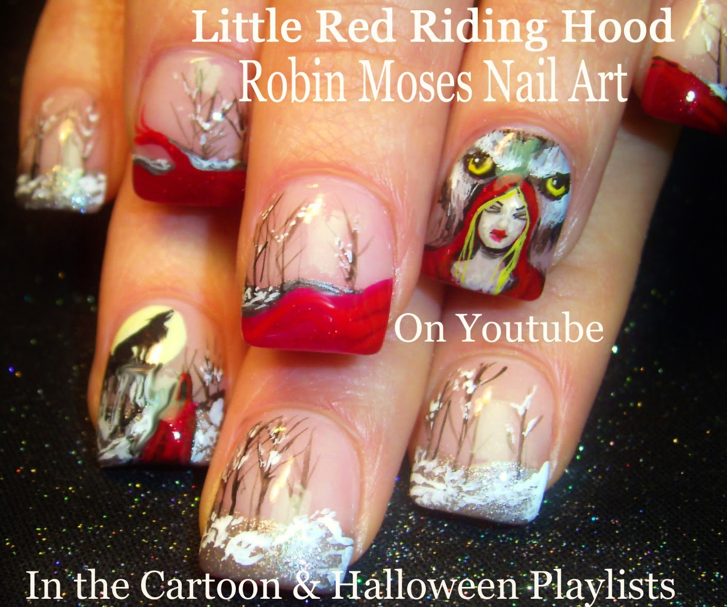 Robin moses nail art little red riding hood red riding hood 3 nail art tutorials diy halloween nail designs little red riding hood prinsesfo Gallery