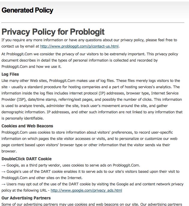 Cara Terbaru Membuat Privacy Policy Online Pada Blog