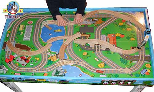 Pre-k playroom wooden table set Thomas the engine train hefty wooden railway train track & Thomas Table Thomas The Engine Train Table Kids Furniture Playboard ...
