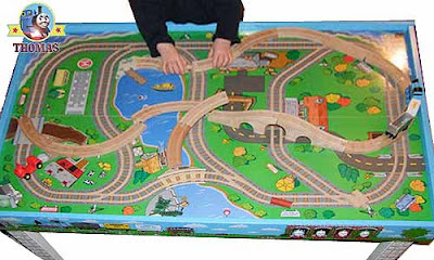 Pre-k playroom wooden table set Thomas the engine train hefty wooden railway train track layout size