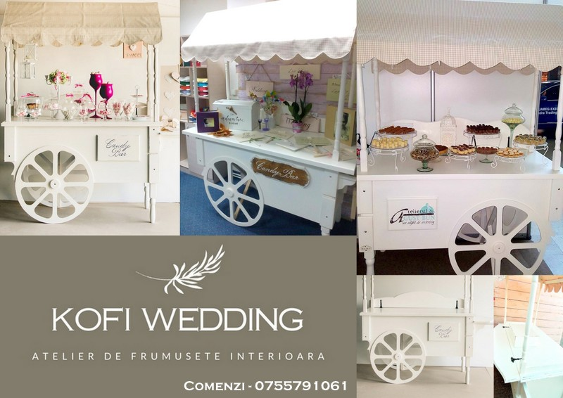 Carut candy bar  - mobilier candy bar.Comenzi pe pagina de facebook Kofi Wedding