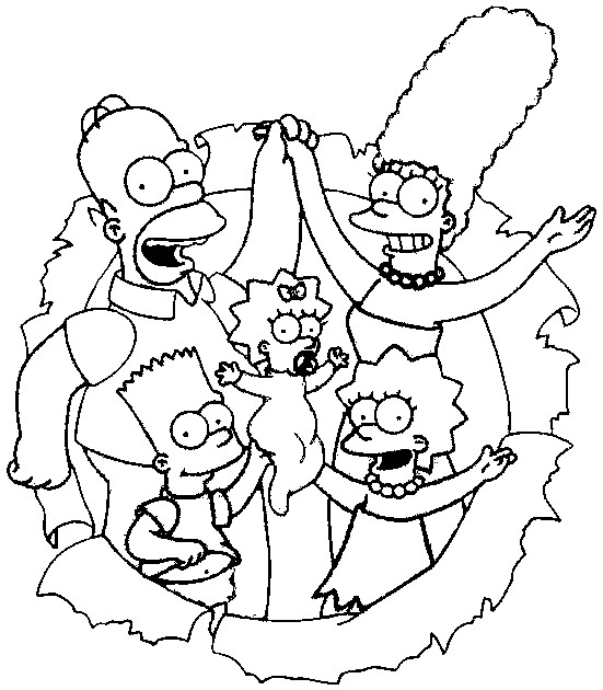 Simpsons Family Coloring Pages high resolution