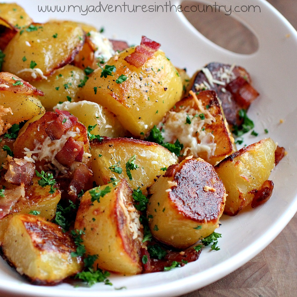 Oven Roasted Bacon, Garlic and Parmesan Potatoes from My Adventures in ...