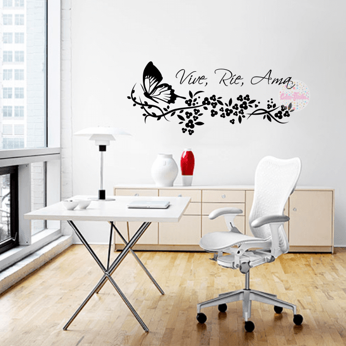 Vinilo decorativo mariposa floral 14 cdm vinilos for Vinilos pared frases