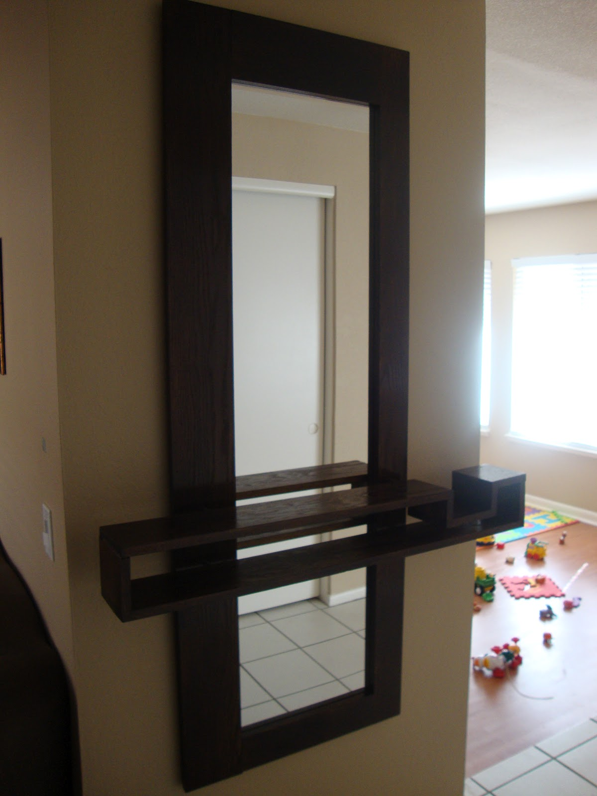 thinking out loud new entryway mirror with floating shelf
