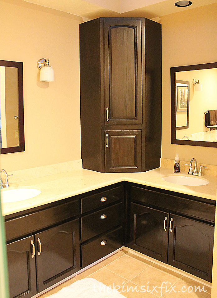 Staining bathroom cabinets darker