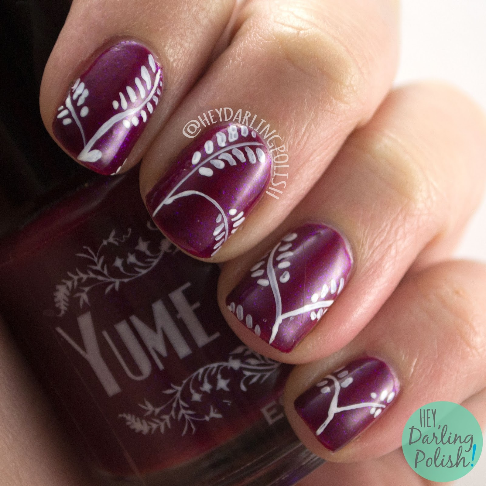 nails, nail art, nail polish, wallpaper, hey darling polish, leaves, branch, maroon, the nail challenge collaborative