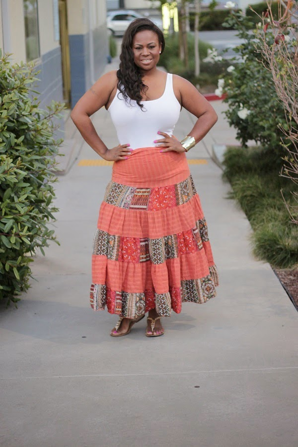 Orange Tribal Print Maxi Print Skirt White Tank Top Black Plus Size Fashion Blogger Melissa Geddis