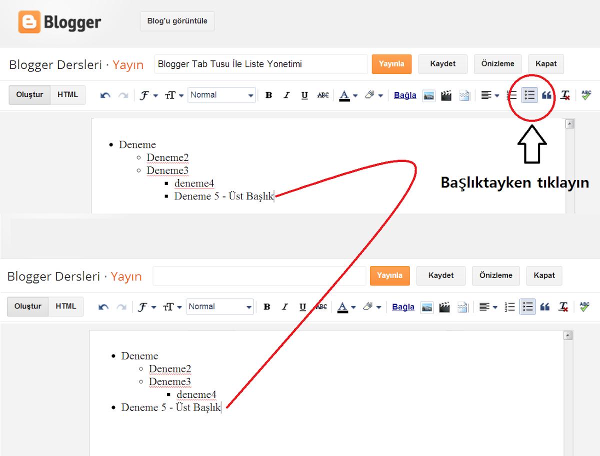Blogger Numaralı Liste , Madde İşaretli Liste Kullanımı