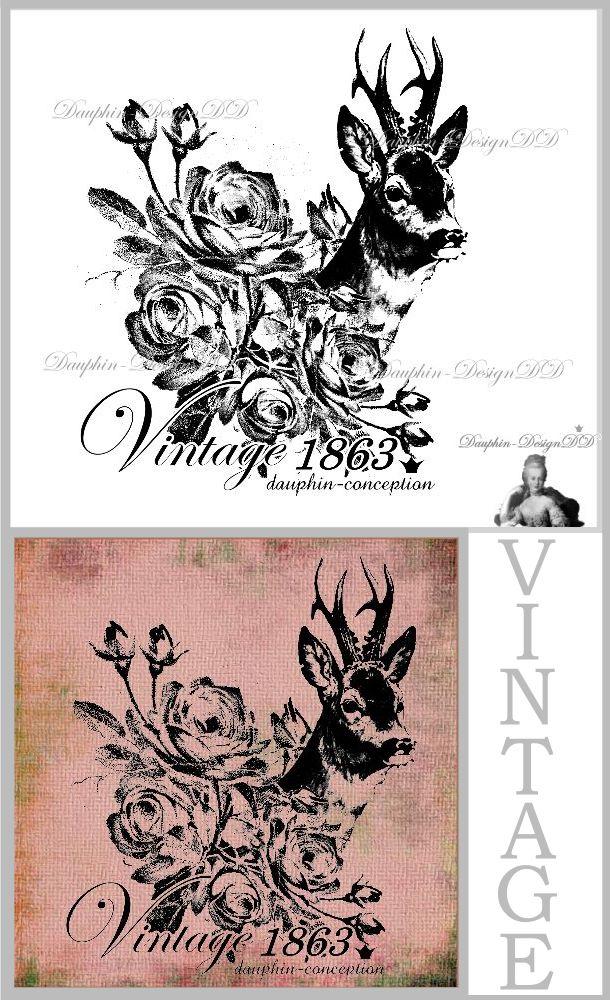 dauphin designdd motivestempel hirsch rose vintage. Black Bedroom Furniture Sets. Home Design Ideas