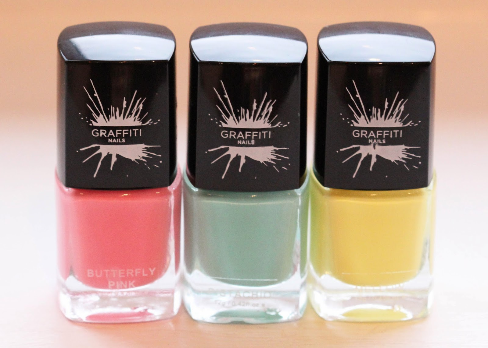 Graffiti Nails Butterfly Pink, Pistachio and Mellow review