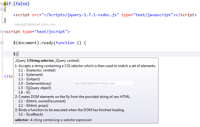 Enable jQuery Intellisense support to MVC3 Razor ~ Dotnet Guru ~