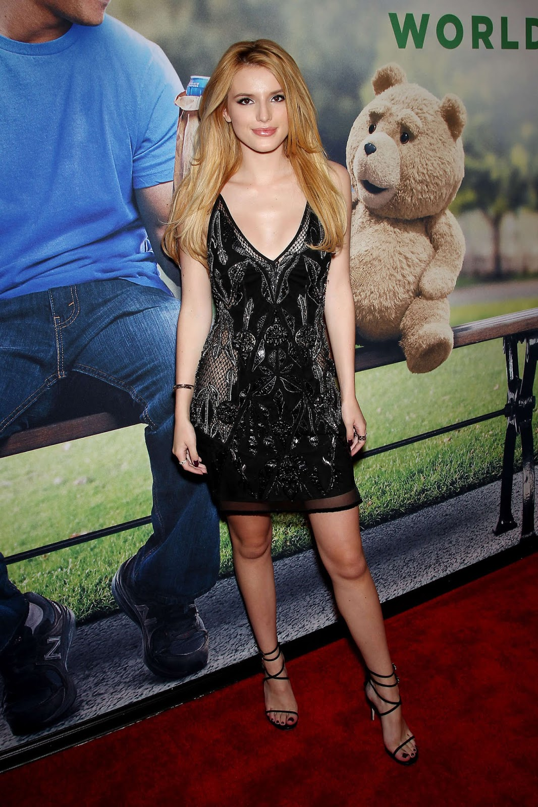 Bella Thorne in an embellished black mini dress at the 'Ted 2' NYC premiere