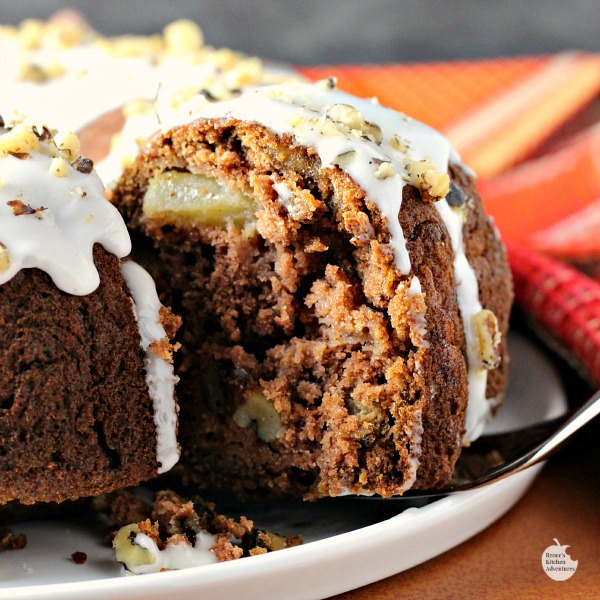 Apple Rum Raisin Cake | by Renee's Kitchen Adventures - A moist flavorful special occasion cake recipe perfect for your dessert spread for Thanksgiving or Christmas