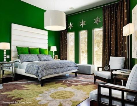 Dise o de dormitorios de color verde decorar tu habitaci n - Dormitorio verde ...