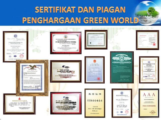 piagam penghargaan produk green world
