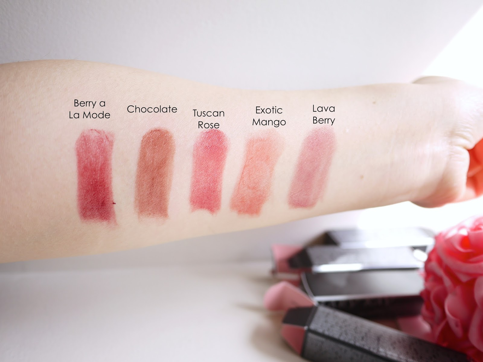 Mary Kay True Dimensions Lipstick swatch review berry a la mode, chocolate ,tuscan rose, exotic mango lava berry