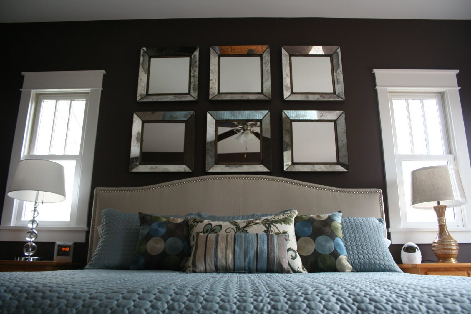 Stuck on hue bedroom update crate barrel dubois for Small mirrors above bed