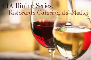 Two wine glasses with a text overlay that says CIA Dining Series, Ristorante Caterina de' Medici
